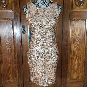 Windsor Gold Sequin Cutout Back Sleeveless Dress